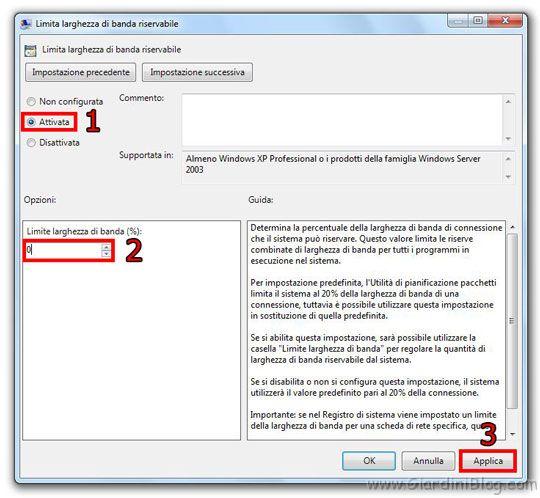 Velocizzare l'apertura delle pagine web e aumentare la velocità di connessione ad internet in Windows 7